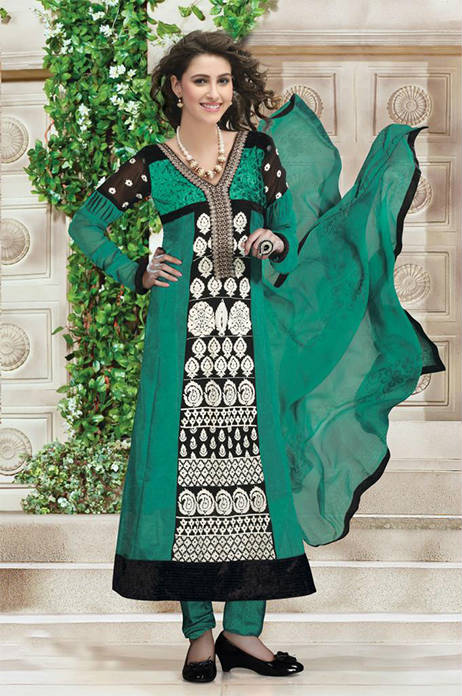 FACNY SEA GREEN GEORGETTE DESIGNER CHURIDAR DRESS 1489