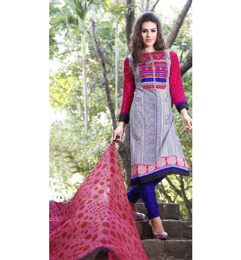 2306-a COTTON PRINTED & EMBROIDERED SALWAR KAMEEZ GLCT2306A