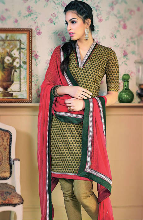 STUNNING  DESIGNER COTTON CHURIDAR SUIT 1463