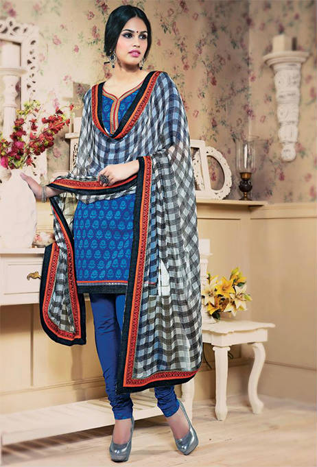 BEAUTIFUL BLUE DESIGNER COTTON CHURIDAR SUIT 1464