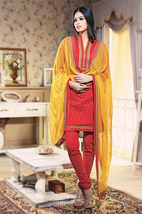 STUNNING PINKISH RED DESIGNER COTTON CHURIDAR SUIT 1468