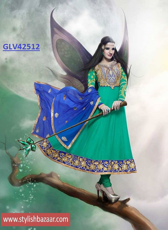 IRRESISTIBLE SEA GREEN ANARKALI SUIT