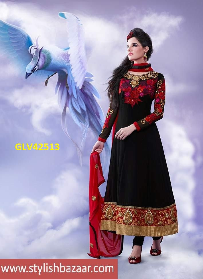 IRRESISTIBLE BLACK FLORAL WORK ANARKALI SUIT