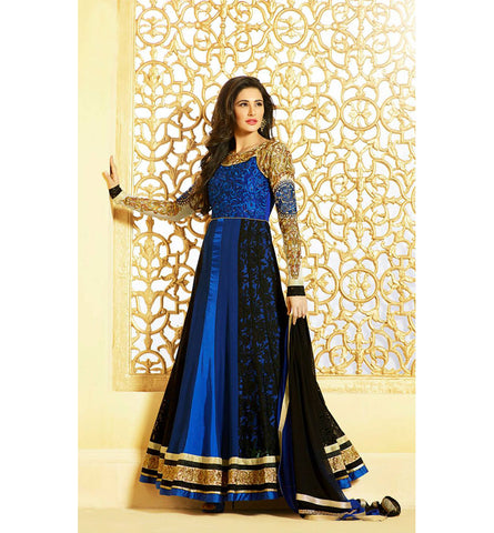Glossy 6 2607A BEWITCHING BLUE & BLACK NARGIS FAKHRI LONG ANARKALI SUIT GLV62607A