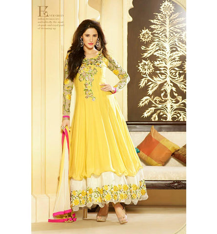 Glossy 6 2608A EXCITING YELLOW NARGIS FAKHRI ANARKALI SALWAR SUIT GLV62608A