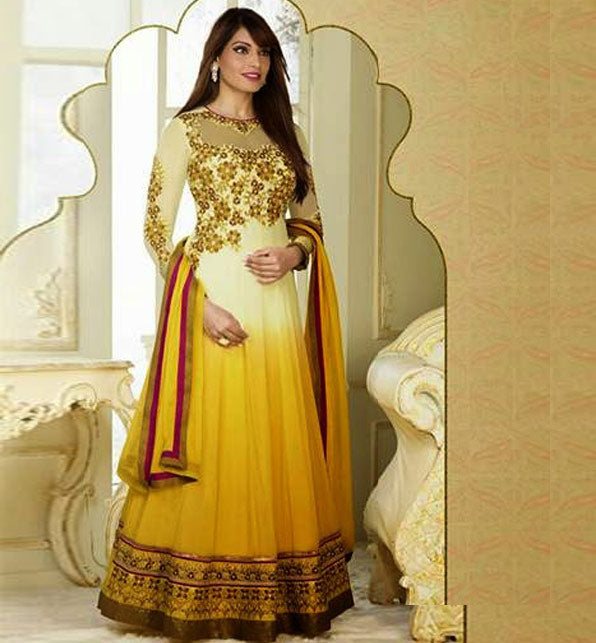 3002 BIPASHA BASU CREAM & YELLOW SHADED ANARKALI SALWAR SUIT FNBP3002