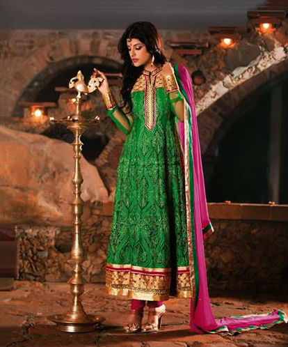 Green Faux Georgette and Net Salwar kameez