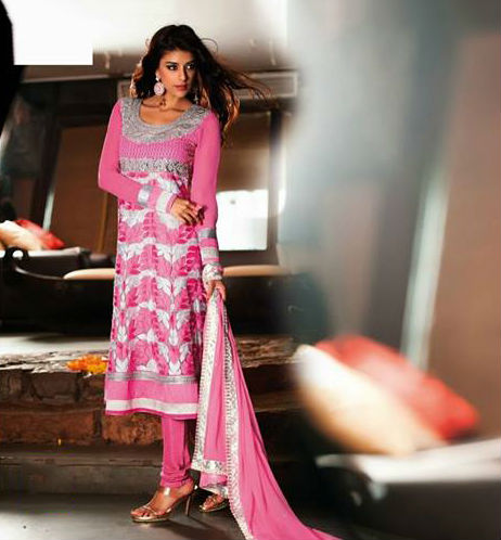 Pink and Off White Faux Georgette Salwar kameez with Resham Work and Lace Work