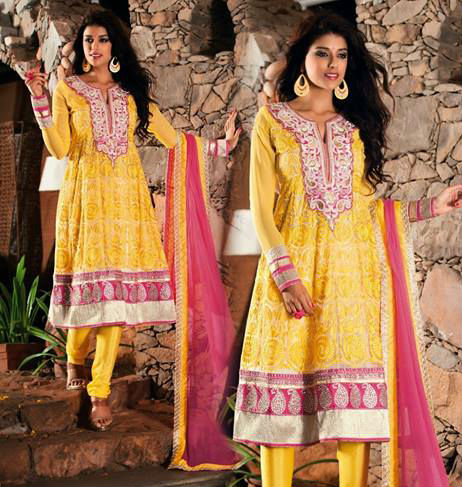 Yellow and Pink Faux Georgette Salwar kameez with Patch Work and Lace Work