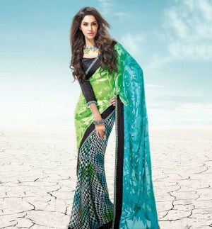 Green Brasso and Georgette Saree with Black Dhupion Blouse having Border work