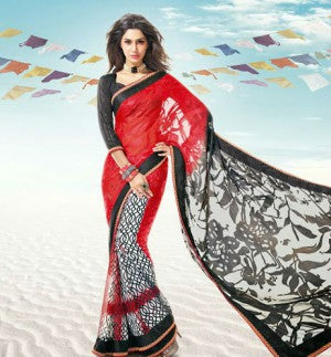 Red Brasso and Georgette Saree with Black Dhupion Blouse having Border work