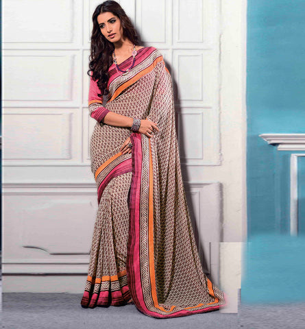 32708 PRINTED CREAM CASUAL WEAR SAREE VSBM32708