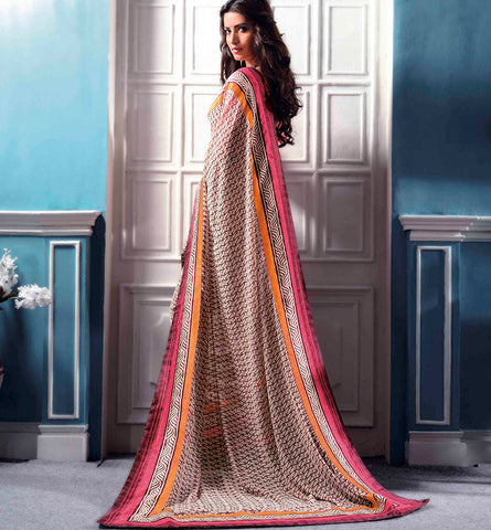 32708b PRINTED CREAM CASUAL WEAR SAREE VSBM32708