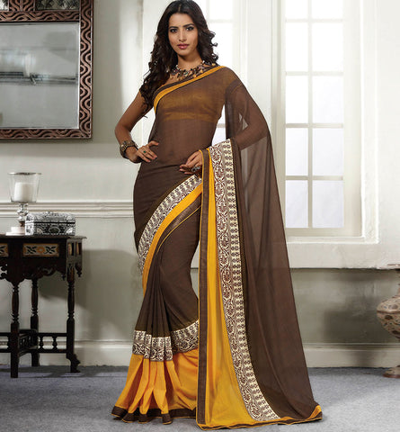 32709 COFFEE GEORGETTE CASUAL WEAR SAREE VSBM32709