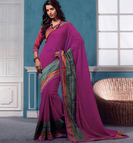 32713 PINK GEORGETTE CASUAL WEAR SAREE VSBM32713