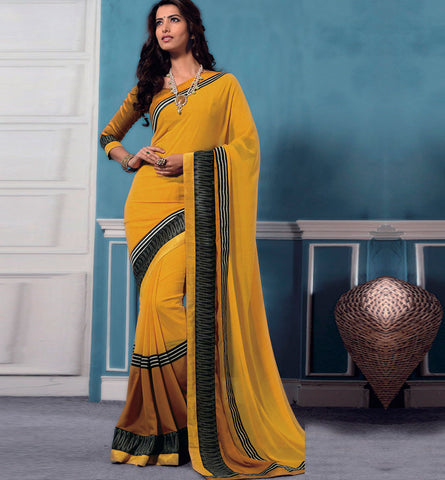 32715 YELLOW GEORGETTE CASUAL WEAR SAREE VSBM32715