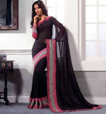 32719 BLACK GEORGETTE CASUAL WEAR SAREE VSBM32719
