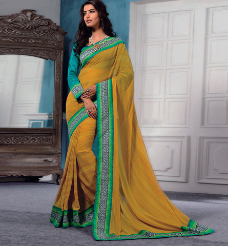 32728 YELLOW GEORGETTE CASUAL WEAR SAREE VSBM32728