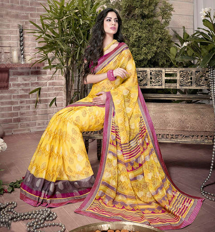 32909 RICH LOOK YELLOW ART SILK SEMI CASUAL SAREE VSHS32909