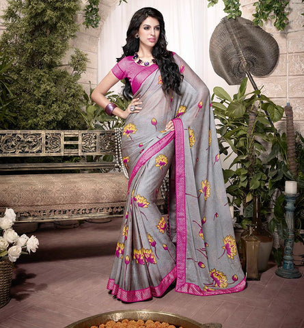 32910 GLORIOUS GREY ART SILK SEMI CASUAL SAREE VSHS32910