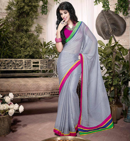 32911 GORGEOUS GREY ART SILK SEMI CASUAL SAREE VSHS32911