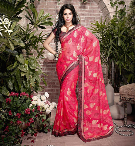 VISHAL 32913 PEPPY PINK BRASSO SEMI CASUAL SAREE VSHS32913