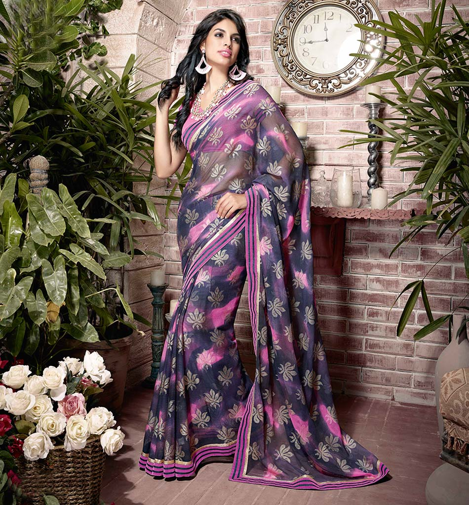 32920 BEAUTIFUL BLUE GEORGETTE SEMI CASUAL SAREE VSHS32920