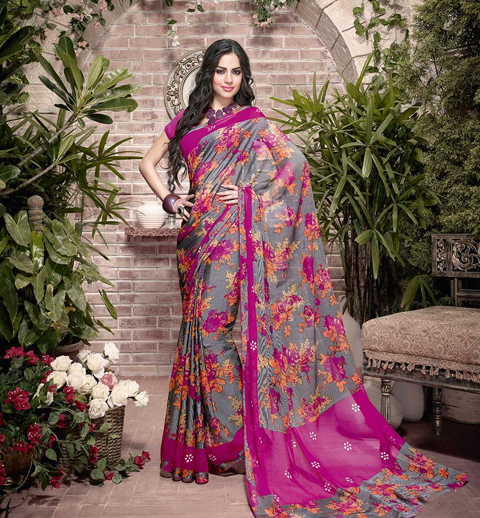 32921 EXCITING GREY GEORGETTE SEMI CASUAL SAREE VSHS32921