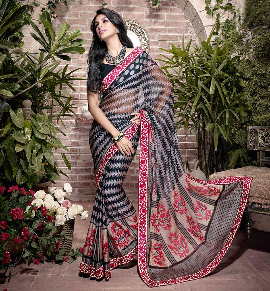 32923 BLAZING BLACK  ART SILK SEMI CASUAL SAREE VSHS32923