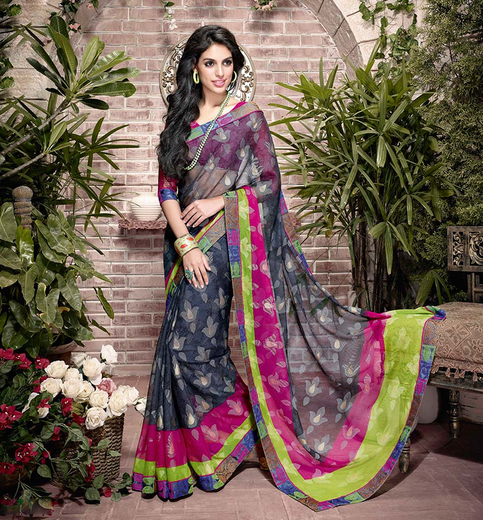 32924 BEWITCHING BLACK ART SILK SEMI CASUAL SAREE VSHS32924