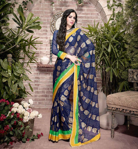 32925 BLISTERING BLUE GEORGETTE SEMI CASUAL SAREE VSHS32925