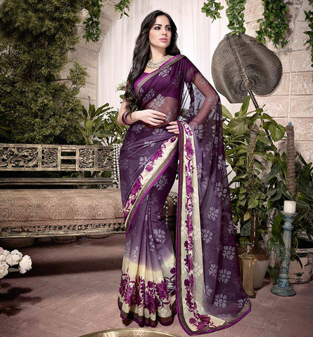 32927 PLEASING PURPLE GEORGETTE SEMI CASUAL SAREE VSHS32927