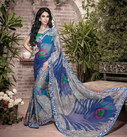 32929 GLORIOUS GREY & BLUE ART SILK SEMI CASUAL SAREE VSHS32929