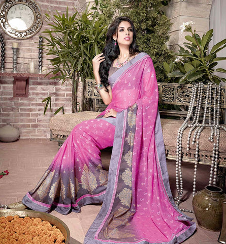 32930 PEPPY PINK GEORGETTE SEMI CASUAL SAREE VSHS32930