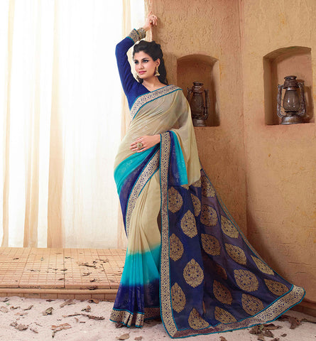 33201 CREAM & BLUE BOLLYWOOD MOVIE HOLIDAY SAREE RTHS33201