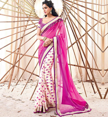 VISHAL 33205A PINK & CREAM SAREE FROM BOLLYWOOD MOVIE HOLIDAY RTHS33205 - AKSHAY KUMAR - SONAKSHI SINHA