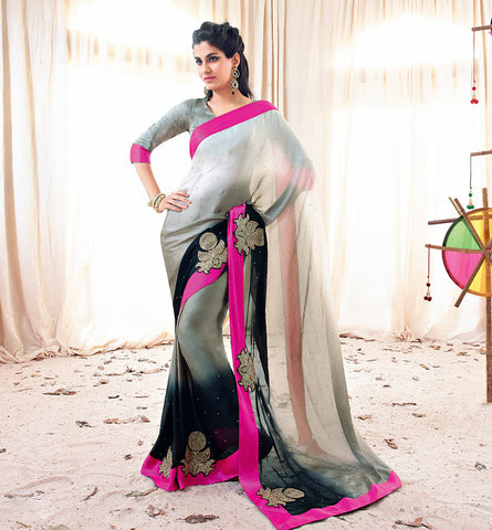33206 GLAMOROUS SAREE FROM BOLLYWOOD MOVIE HOLIDAY RTHS33206 - STYLSIHBAZAAR - HOLIDAY - AKSHAY KUMAR - SONAKSHI SINHA - VISHAL FASHIONS SURAT