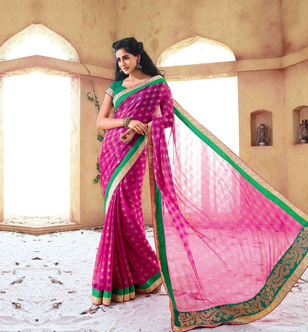 33207A PINK CHIFFON SAREE FROM BOLLYWOOD MOVIE HOLIDAY RTHS33207 - STYLSIHBAZAAR - HOLIDAY - AKSHAY KUMAR - SONAKSHI SINHA