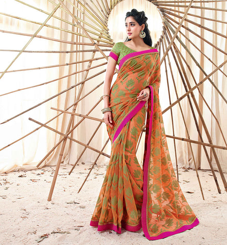 33211 ORANGE JUTE SAREE FROM BOLLYWOOD MOVIE HOLIDAY RTHS33211 - STYLSIHBAZAAR - HOLIDAY - AKSHAY KUMAR - SONAKSHI SINHA