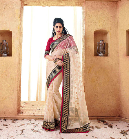 33213 CREAM BRASSO SAREE FROM BOLLYWOOD MOVIE HOLIDAY RTHS33213 - STYLSIHBAZAAR - HOLIDAY - AKSHAY KUMAR - SONAKSHI SINHA