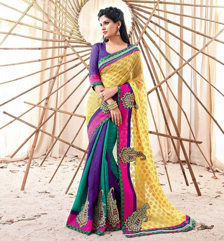 33214 MULTICOLOR SAREE FROM BOLLYWOOD MOVIE HOLIDAY RTHS33214 - STYLSIHBAZAAR - HOLIDAY - AKSHAY KUMAR - SONAKSHI SINHA