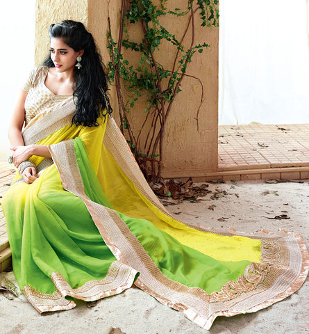 33217 YELLOW & GREEN SAREE FROM BOLLYWOOD MOVIE HOLIDAY RTHS33217