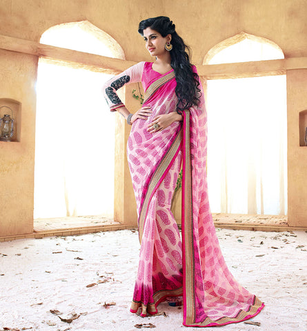33218A PINK GEORGETTE SAREE FROM BOLLYWOOD MOVIE HOLIDAY RTHS33218A