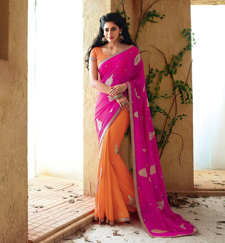 33220 PINK & ORANGE SAREE FROM BOLLYWOOD MOVIE HOLIDAY RTHS33220