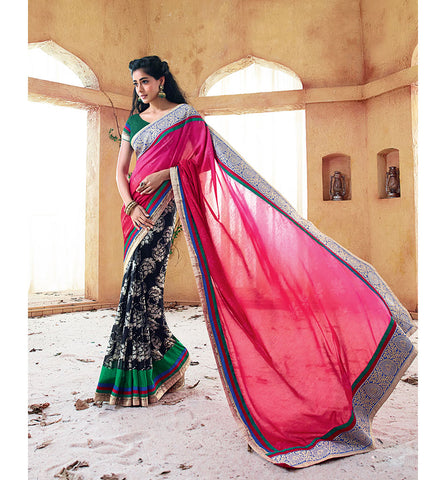 33221A PINK & BLACK SAREE FROM BOLLYWOOD MOVIE HOLIDAY RTHS33221A
