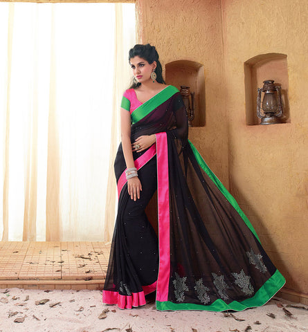 33224 GEORGETTE SAREE FROM BOLLYWOOD MOVIE HOLIDAY RTHS33224