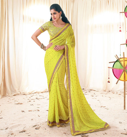 33227 YELLOW SAREE FROM BOLLYWOOD MOVIE HOLIDAY RTHS33227