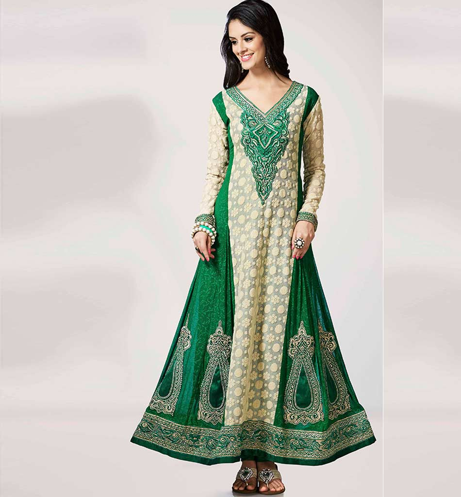 4001 GLAMOROUS GREEN & CREAM GEORGETTE ANARKALI RTWV4001