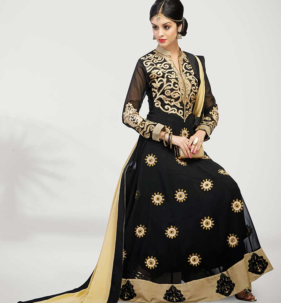 4002a BEWITCHING BLACK GEORGETTE ANARKALI RTWV4002