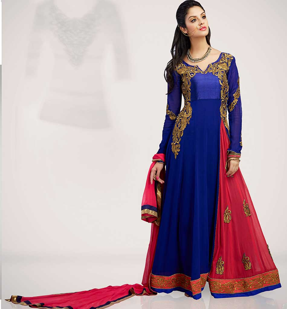 4005 BEAUTIFUL BLUE & PINK GEORGETTE ANARKALI RTWV4005